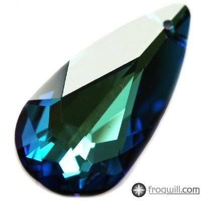 Swarovski teardrop pendants crystal bermuda blue 24 x 12 mm