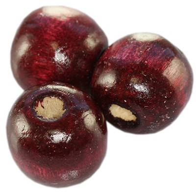 round wooden beads burgundy 13 x 14 mm