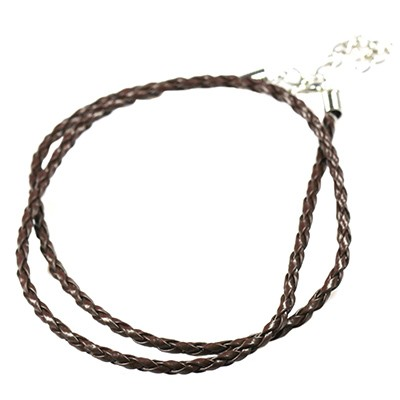 necklace woven leather cord brown