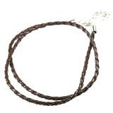 support collier lanière tressée brune
