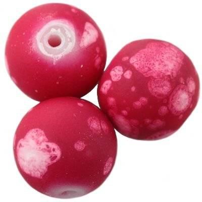 Perles de verre revêtues de caoutchouc galactique fuchsia 14 mm