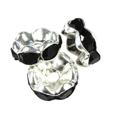 SparkleRings™ wave silver black 8 mm rondelles strass cristal perles intercalaires