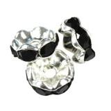 SparkleRings™ fale kolor srebrny czarne 8 mm przekładki jubilerskie rhinestone