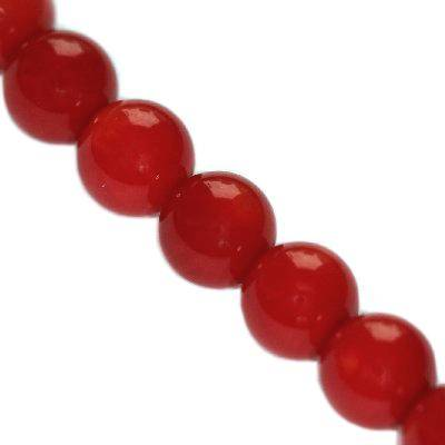 round beads red coral 8 mm