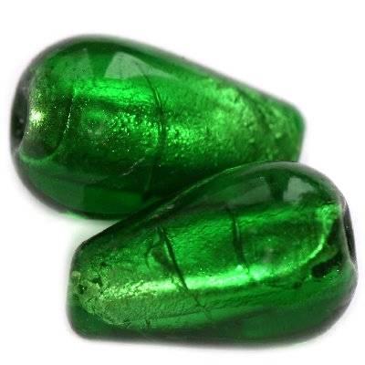 koraliki lampworki srebrzone łezki zielone 12 x 20 mm