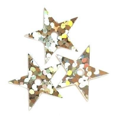 pailletes a laser stelline d'argento 13 mm