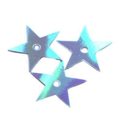 cekiny kremowo - tęczowe gwiazdki błękitne 13 mm