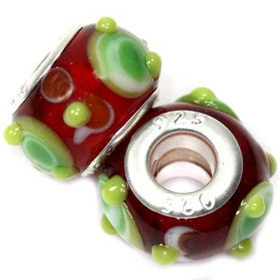 modular beads green insets on ruby 9 x 14 mm