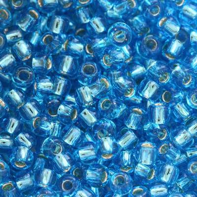 Toho beads round silver-lined dark aqua 2 mm TR-11-23B