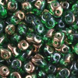 Perles SuperDuo 2,5 x 5 mm green  semi bronze luster / Tchèque Perles 2 trous