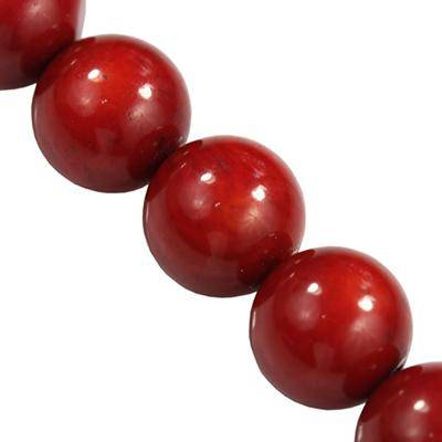 round beads red coral 10 mm
