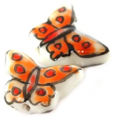 butterfly porcelain orange 12 x 16 mm
