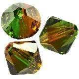 Swarovski bicone beads fern green-topaz bl. 4 mm