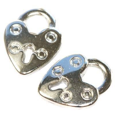 cuori lucchetti in plastica d'argento 20 x 15,5 mm