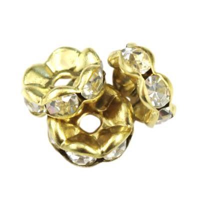 SparkleRings™ fale kolor złoty białe 8 mm przekładki jubilerskie rhinestone