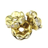 SparkleRings™ wave gold white 8 mm rondelles strass cristal perles intercalaires