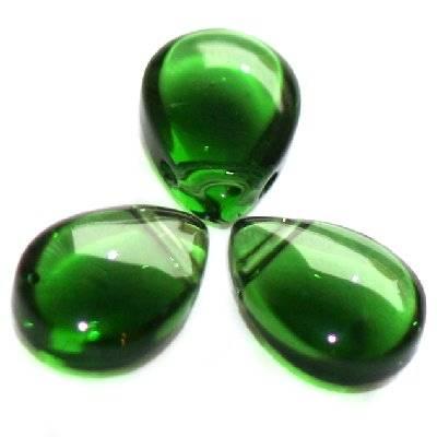 łezki gładkie zielone 8 x 11 mm