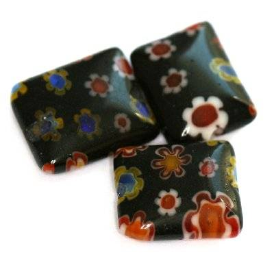 rectangles black millefiori flowers 10 x 8 mm