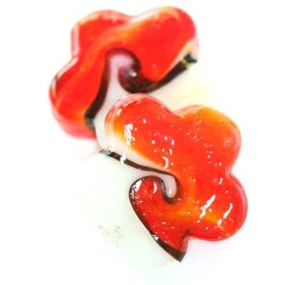 lampwork beads rough waves flowers white red 25 mm