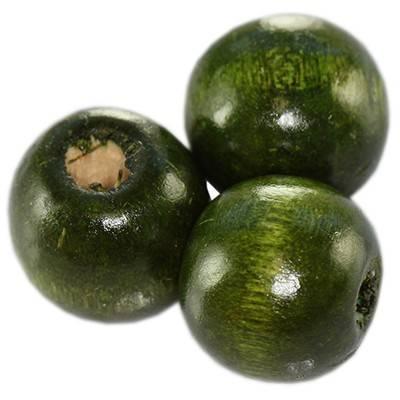 perles rondes en bois vert foncé 15 x 16 mm