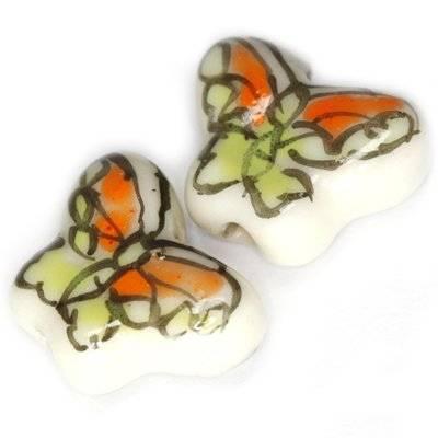 butterfly porcelain green 13 x 17 mm