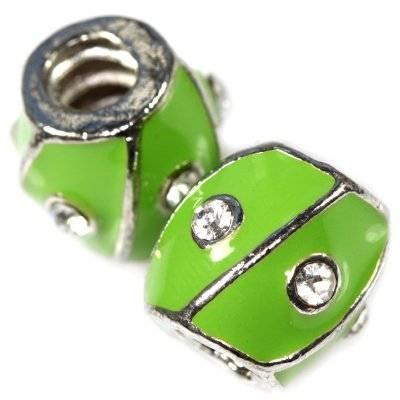 koraliki modułowe zielone beczułki z cyrkoniami 11 x 11,5 mm