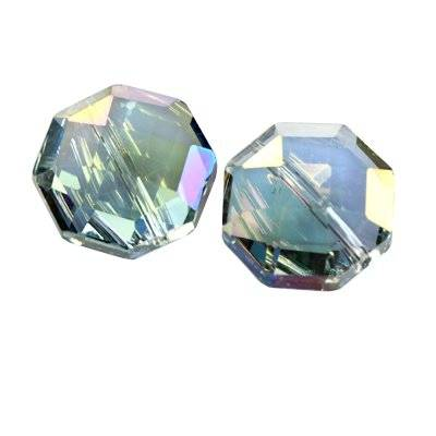 crystals flat faceted silver shade ab beads octagon 18 mm