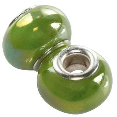 modular beads ceramic shining ab green 10 x 16 mm