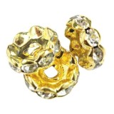 SparkleRings™ wave gold white 10 mm rondelles strass cristal perles intercalaires