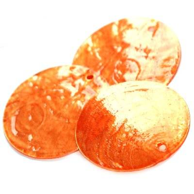 mother of pearl round orange 3.5 cm