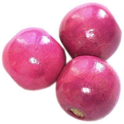 round wooden beads pink