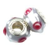 perles boules incrustations roses fond lys 9 x 14 mm