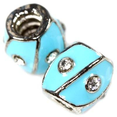 modular beads blue barrel with zircons 11 x 11,5 mm