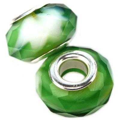modular beads crystal green rainbow 10 x 14 mm
