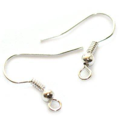 ear wire with ball and coil silver color