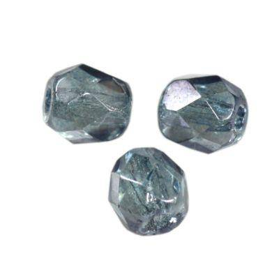 Czech Fire Polished beads 4mm round light denim blue luster