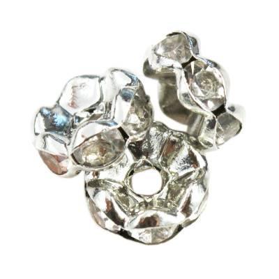 SparkleRings™ fale rodowane białe 8 mm przekładki jubilerskie rhinestone