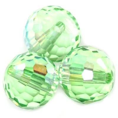 faceted glass beads AB green 12 mm