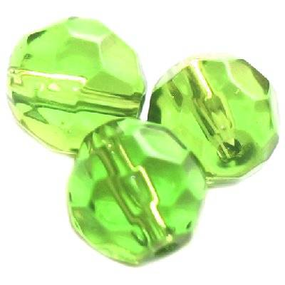 faceted hand cut green 12 mm