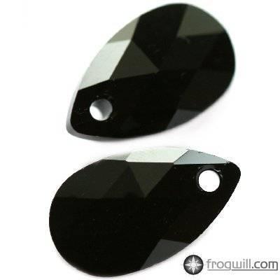 Swarovski pear-shaped pendants jet 16 mm