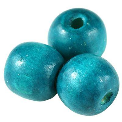 round wooden beads turquoise 15 x 16 mm