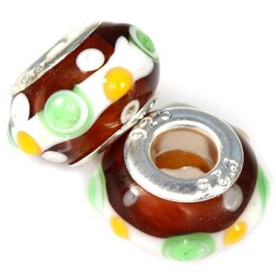 perles boules incrustations vertes fond brun 9 x 14 mm