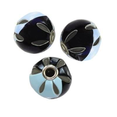 perles boules tresse de cuir azurées noires 14 mm