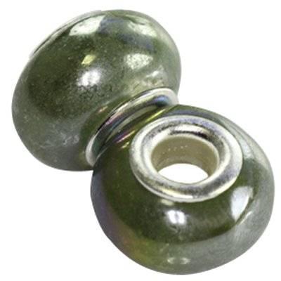 perles modulaires en céramique brillantes olives ab 10 x 16 mm