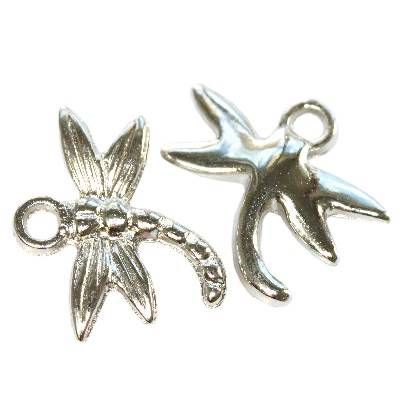 dragonflies silver plastic beads 15,4 x 19 mm