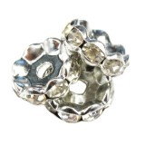 SparkleRings™ wave rhodium white 10 mm rondelles strass cristal perles intercalaires