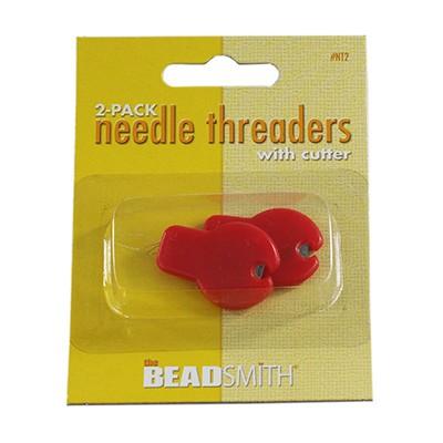 Needle threader w/cutter 2 pieces per card