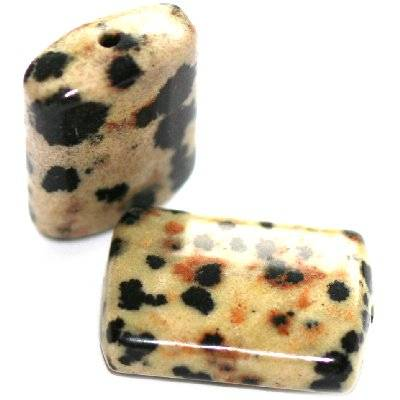 prostokąty jaspis dalmatyńczyk 14 x 20 mm kamień naturalny