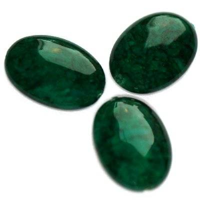 marble ovals dyed green 10 x 14 mm / natural stone dyed