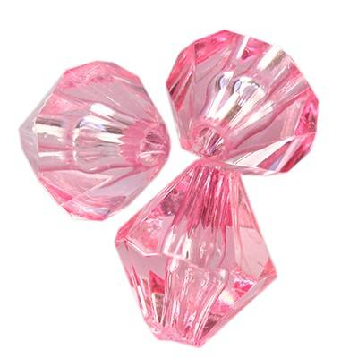 plastic bicone beads pink 10 mm